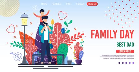 Family Day Trendy Flat Design for Landing Page. Cartoon Happy Father Walking with Child Son on Shoulders. Childhood and Parenthood. Spending Time Together and Recreation. Vector Illustration
