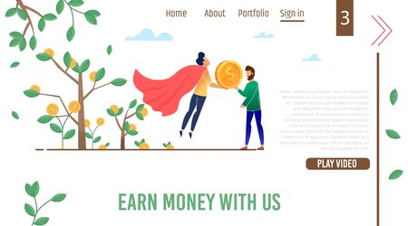 Landing Page Advertising Business Video Tutorials Teaching Earn Money, Increase Profit. Cartoon Super Businessman in Red Hero Cloak and Male Startupper Flat Tree with Gold Coins. Vector Illustration Çizim