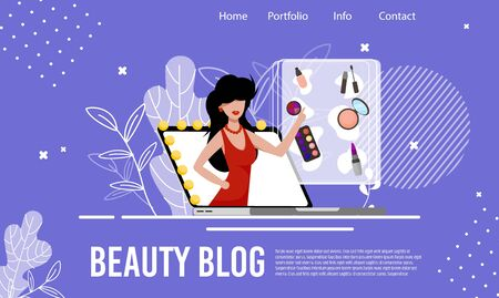 Fashion and Cosmetics Review Beauty Blog Flat Landing Page. Trend Makeup Tutorial and Video Content. Online Blogging Consultant. Internet Influencer. Vector Woman Blogger on Laptop Illustration