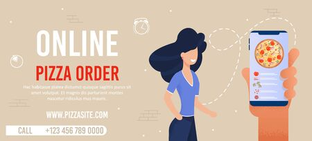 Flat Banner Advertising Online Pizza Order Service. Mobile App. Cartoon Woman Customer Character. Vector Huge Human Hand Holds Phone with Open Site. Contacts and Internet Address. Vector Illustration