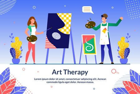 Informative Banner Online Art Therapy Training. Thanks to Passion for Learning, Person makes Career. Woman and Man are Dressed in Aprons and are Painting on an Easel. Vector Illustration.