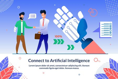 Flyer Written Connect to Artificial Intelligence. High Efficiency Through Use Convenient Tools. Man Welcomes Person with Disability. Successful Use Artificial Intelligence. Vector Illustration.  イラスト・ベクター素材