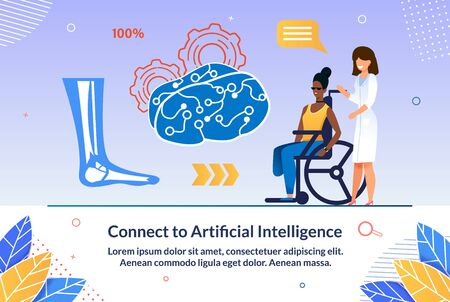 Online Seminar Connect To Artificial Intelligence. Selection Equipment and Suitable Assistance for Disabled. Female Doctor Stands with Girl Disabled Person and Talking about Leg.