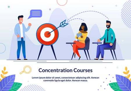 Informative Flyer Written Concentration Courses. Teachers Create their Own Courses Flat. Boys and Girls Listen to Speaker and Hit Target. Man Laughs with Students. Vector Illustration.