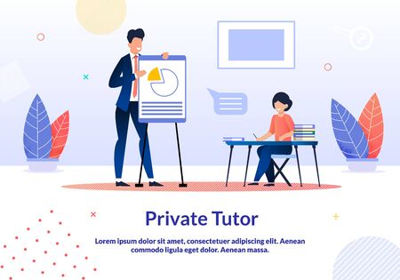 Advertising Banner is Written Private Tutor Flat. Intensive is Focused on Communicative Technique. Man in Suit Shows Chart on Board, Woman Listens. Audience for Training. Vector Illustration.  イラスト・ベクター素材