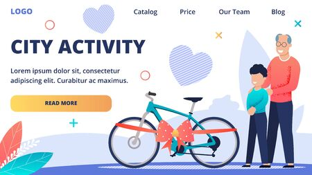 Advertising Web Banner Inscription City Activity. Joyful Grandfather Shows his Grandson his Gift. Happy Boy Rejoices at his Gift. childs Bike for Outdoor Activities. Vector Illustration.