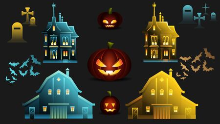 Helloween House, Pumpkin, Bat, Tombstone Element. Haunted Castle Set in Nighttime Blue and Sunset Yellow Colors. Cemetery Cross, Mysterious Mansion, Spooky Graveyard Vector Symbol.