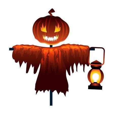 Ilustración plana del espantapájaros de Halloween. Monstruo de cabeza de calabaza espeluznante aislado. Escena de dibujos animados espeluznante para la temporada de octubre. Fantasma de Grunge abstracto con linterna en la luz del atardecer. Terror de fantasía.