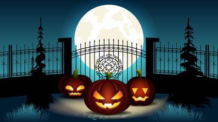 Halloween-Cartoon-Illustration. Gruppe Kürbislaterne mit unterschiedlichem Gesichtsausdruck und innerem leuchtendem Licht in der Nähe von Fance mit Schlosstor. Gespenstischer blauer Vollmond nachts. Oktober Urlaub.