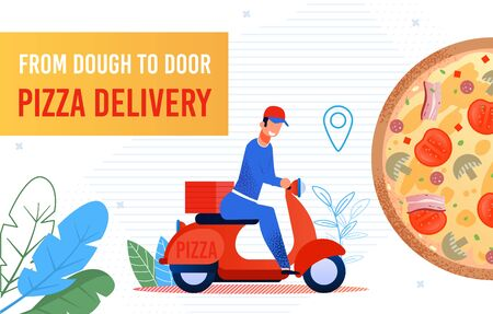 Freshly Cooked Fast Food and Pizza Delivery to Door by Courier Service. Advertising Poster. Cartoon Happy Man Worker Character Riding Moped Rushing Bring Order in Time. Vector Flat Illustration