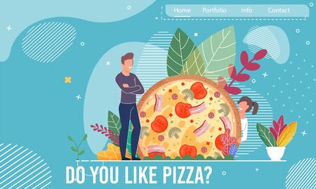 Cartoon Happy Man and Woman Couple Characters and Huge Pizza with Tomatoes, Mushrooms, Sausages, Bacon, Cheese over Foliage. Landing Page Trendy Flat Design for Pizzeria, Bistro. Vector Illustration Stock Illustratie