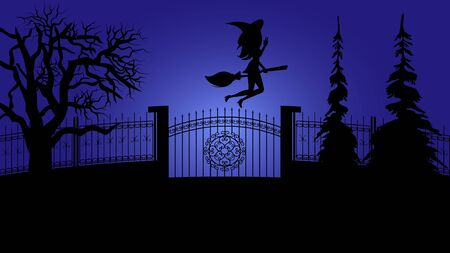 Spooky Halloween Night Holiday. Mysterious Witch Girl Character Silhouette in Hat Flying on Broom in Dark Midnight near Gate and Fence. Haunted Spruce Tree Shadow. Creepy Party Cartoon. Ilustração