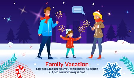 Poster Inviting Celebrate Charismas. Family Vacation Time. Winter Holidays. Cartoon Parents and Child Firing Sparklers on Snowy Urban Street. Flat Dark Cityscape. Xmas Accessories. Vector Illustration Standard-Bild - 130743474