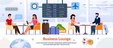 Business Lounge in Airport Advertising Poster. Waiting Room for Busy Businesspeople. Smiling Man and Woman People Sitting, Drinking Coffee, Rest, Chatting, Meeting with Partners. Vector Illustration