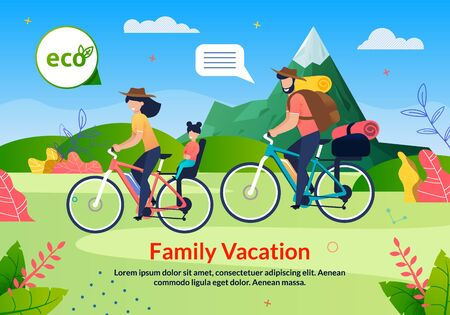 Family Vacation Eco Tour on Bicycle Poster. Cartoon Father, Mother and Daughter Characters Cycling Outdoors. Natural Mountain Road Flat Landscape. Exciting Journey on Bikes. Vector Illustration
