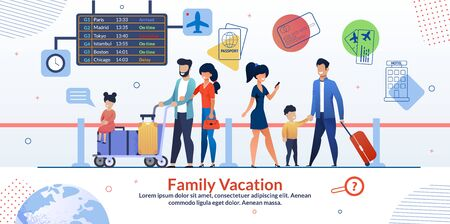 Family Vacation Travelling Advertising Poster. Two Married Couples with Children and Luggage in Airport. Abroad Travelers Characters. Arrival and Departure Board. Check-in. Vector Flat Illustration