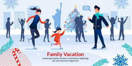 Winter Ice Skaters in Central Park New York on Christmas Holidays. Happy Family Skating on Winter Vacation. Ad Poster. Cartoon People Characters Enjoy Xmas Entertainment. Vector Flat Illustration Çizim