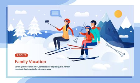 Mountaineering Family Characters Winter Vacation Promo Flat Poster. Cartoon Married Couple and Child Girl Skiers Taking Selfie on Smartphone. Mountain Ski Resort. Snowy Weather. Vector Illustration Çizim