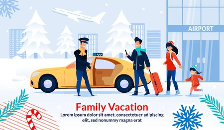Happy Family Vacation on Christmas Holidays. Invitation Flat Poster. Cartoon Parents and Child Arrived in Airport Ordering Taxi via Smartphone. Winter Holidays Recreation. Vector Illustration