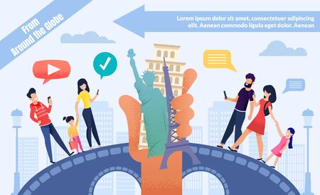 Booking Tour Online for World Voyage Advertising Flat Poster. Happy Cartoon People, Married Couples and Families with Children on Bridge Using Phones for Order Trip to Europe. Vector Illustration