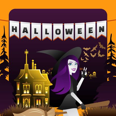 Halloween Party Celebration Flyer with Cartoon Character. Cute Smiling Witch Girl with Purple Hair in Hat and Broom. Pennon Decoration Headline sign. Haunted Gothic Castle Graveyard. Scary Bats in Sky Çizim