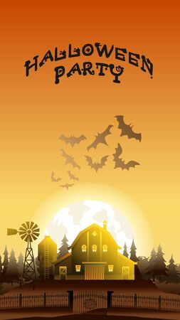 Halloween Party Cartoon Vector Banner Illustration. Mystery Grange with Face and Gate in Hill. Full Yellow Moon with Spooky Flying Bat Silhouette in Sunset Sky. Horrible Zombie Village. 일러스트