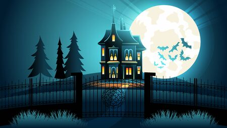 Spooky Halloween Castle at Scary Night with Full Moon and Bats in Sky. Ghost Manor and Tree Silhouette at Dark Hill. Old Blue Mystic Gotic Shape Mansion in Mystery Darkness. Creepy Vampire Terror. Çizim
