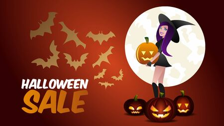Halloween Sale Promotion Horizontal Banner. Elegant Cartoon Character of Witch Girl in Hat with Jack Pumpkin Scary Lantern and Bats Silhouette. Full Magic Moon behind. Special Autumn Advertisement.