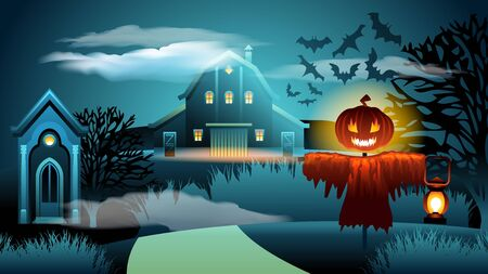 Scary Bewitched Haunted House. Spooky Halloween Scarecrow Monster Character Silhouette with Pumpkin Head and Lattern. Cloud Night Sky with Bat. Mystery Lake Landscape. Old Mansion in Moonlight.