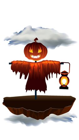 Halloween Pumpkin Head Scarecrow with Lantern in Floating Island or Hill in Fog. Character with Evil Smile. Bizzare Cartoon Monster. Rural Grungy Outdoors Decoration. Funny October Party.