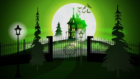Haunted Castle in Halloween. Green Moon Illuminated Silhouette with Spruce Tree and Bats in Sky. Lantern Light Glow and Mysterious Dark Shadow Scene. Old Gothic House with Fance and Gate.