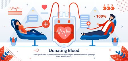 Donating Blood Volunteer, Blood Plasma Transfusion Process, Volunteer Help for Human Life Saving Trendy Flat Vector Vector Banner, Poster. Female, Male Donors Lying in Chair in Hospital Illustration