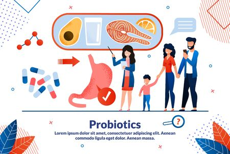 Probiotics Medicines, Digestive Disorders Treatment Trendy Flat Vector Vector Banner, Poster Template. Female Doctor Explaining to Family Probiotics Benefits, Healthy Nutrition Rules Illustration
