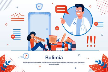 Bulimia, Eating Disorder Treatment, Women Psychological Problems Trendy Flat Vector Vector Banner, Poster Template. Overeating Woman Suffering from Metal Problems, Doctor Helping Patient Illustration