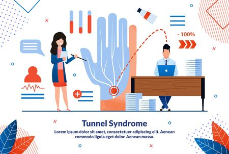 Carpal Tunnel Syndrome, Painful Median Nerve in Wrist Trendy Flat Vector Vector Banner, Poster. Doctor with Pointer, Explaining Disease Causes, Office Worker Using Computer at Work Desk Illustration Illustration