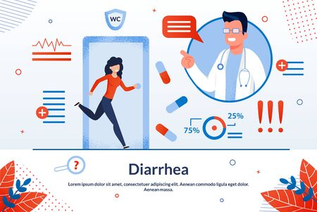 Diarrhea, Digestive Disorders, Stomach or Bowel Diseases Treatment Trendy Flat Vector Vector Banner, Poster. Woman with Diarrhea Hurrying in Toilet, Doctor Explaining Disease Causes Illustration Çizim
