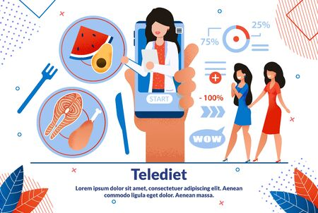 Tele-diet Application, Nutrition Therapy Online, Telemedicine Service Trendy Flat Vector Vector Advertising Banner, Poster Template. Female Nutritionist Consulting Clients about Dieting Illustration