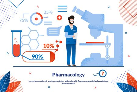 Pharmacology Science, Pharmaceutical Industry Product Trendy Flat Vector Vector Banner, Poster Template. Pharmacist, Medical Laboratory Scientist, Pharmacy Researcher Work Tools, Medical Infographics