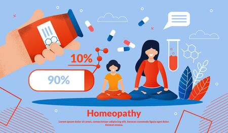 Homeopathy Medicines, Alternative Medicine Treatments Trendy Flat Vector Vector Banner, Poster Template. Happy Woman with Daughter Sitting in Lotus Pose and Meditating, Homeopathic Pills Illustration