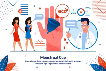 Menstrual Cup, Women Hygiene Ecological Solution, Device Trendy Flat Vector Vector Banner, Poster Template. Gynecologist Explaining to Female Patients Advantages of Silicone Menstrual Cup Illustration Çizim