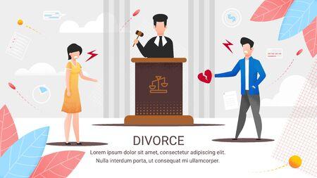 Informationsplakat Aufschrift Scheidung, Cartoon. Scheidung vor Gericht. Der Richter wird die Gründe für die Scheidung anhören. Trennung durch Gericht. Brechen der Beziehung zwischen Mann und Frau. Vektor-Illustration.