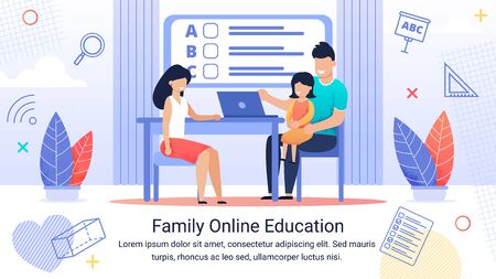 Informative Banner Text Family Online Education. Joyful and Happy parents Raise Their Child. Daughter Sits on Fathers Lap Near Laptop. Mom Sits at Table and Helps with Studies. Good Online Training. Çizim