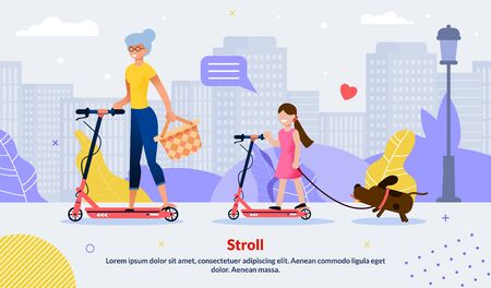 Happy Family Scooting Together. Cartoon Grandmother and Granddaughter Riding Electric Scooter. Relatives Walking with Dog. Natural Park. Active Spare Pastime Motivate Flat Poster. VEctor Illustration Çizim