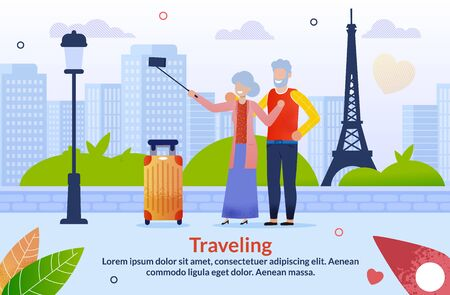 Journey to Europe for Aged Senior Couples Flat Poster. Cartoon Mature Married Man and Woman Characters with Luggage Bag Taking Selfie on Phone with Eifel Tower. Vector Text Illustration