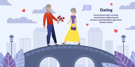 Cartoon Senior Man and Woman Characters on Romantic Date. Promenade Walk on City Bridge Advertising App for Create New Relationships in Old Age. Flat Motivation Poster. Vector Illustration