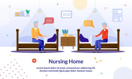 Happy Elderly Man in Nursing Home Cartoon. Mature Male Friends Sitting on Bed and Having Nice Conversation. Daytime Sleep. Flat Bedroom Interior. Advertising Poster. Vector Illustration Çizim