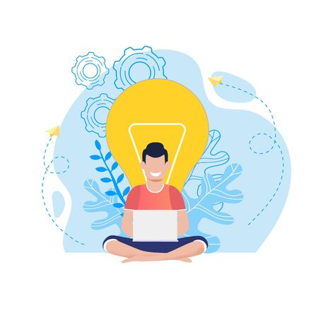 Cartoon Smiling Man with Laptop Sitting on Floor Having Idea. Blogger, Freelancer Thinking, Brainstorming, Receiving Knowledge Online while Surfing Internet. Idea Light Bulb. Flat Vector Illustration  イラスト・ベクター素材