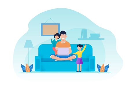 Father and Daughters Having Rest in Living Room. Man Sits on Sofa Using Laptop. Girls Attracting Dads Attention. Happy Family Evening. Recreation Together at Home. Vector Flat Cartoon Illustration Çizim