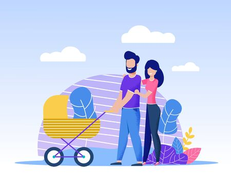 Happy Family Spending Time Together Walking in Park. Smiling Father Carrying Stroller with Baby and Mother Going near. Satisfied Wife Hugging Husband by Shoulders. Vector Cartoon Flat Illustration