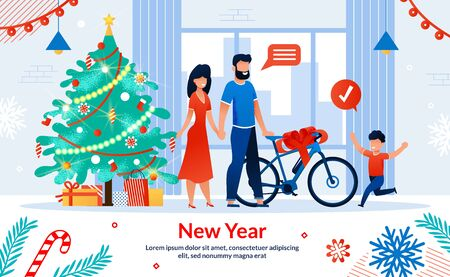 New Year Children Gifts, Winter Holidays Happy Family Celebration Trendy Flat Vector Horizontal Banner, Poster. Parents Standing near Christmas Tree with Gifts, Giving Bicycle to Son Illustration